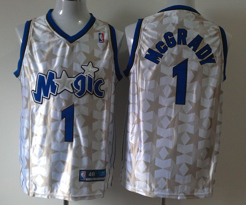 Men Orlando Magic 1 Tracy Mcgrady White Star Edition Stitched NBA Jersey