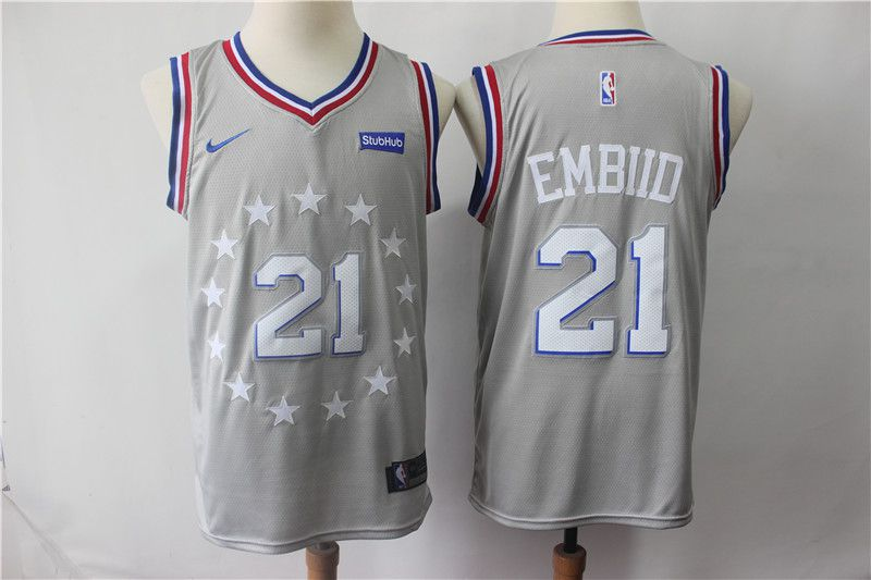 Men Philadelphia 76ers 21 Embiid Grey City Edition Nike NBA Jerseys