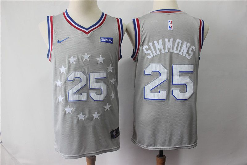 Men Philadelphia 76ers 25 Simmons Grey City Edition Nike NBA Jerseys