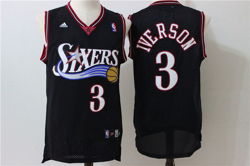 Men Philadelphia 76ers 3 Iverson Black Throwback Adidas NBA Jersey