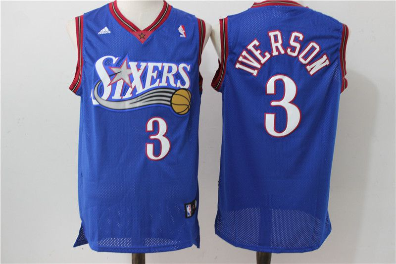 Men Philadelphia 76ers 3 Iverson Blue Throwback Adidas NBA Jersey