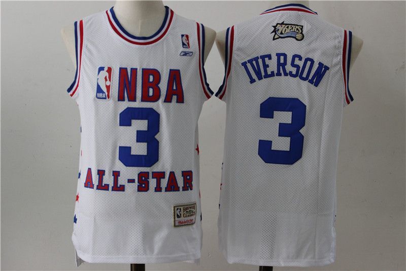 Men Philadelphia 76ers 3 Iverson White All Star NBA Jersey