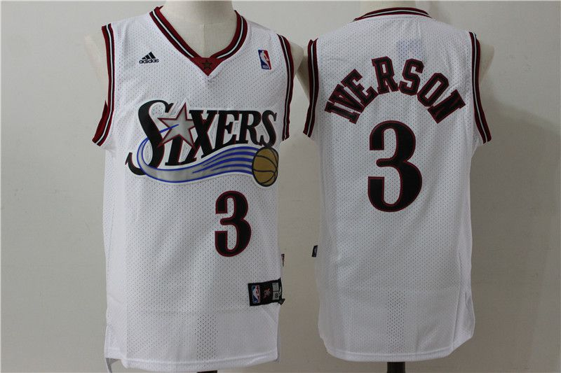 Men Philadelphia 76ers 3 Iverson White Throwback Adidas NBA Jersey