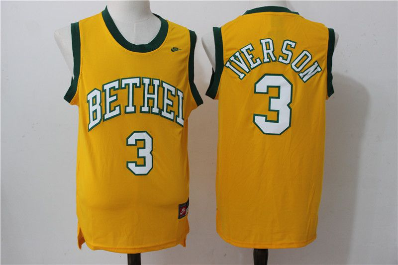 Men Philadelphia 76ers 3 Iverson Yellow Nike NBA Jersey