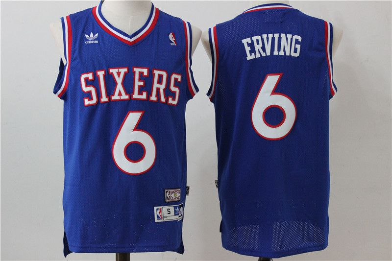 Men Philadelphia 76ers 6 Erving Blue Adidas NBA Jersey