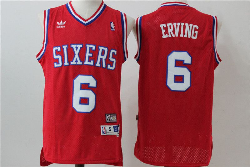 Men Philadelphia 76ers 6 Erving Red Adidas NBA Jersey