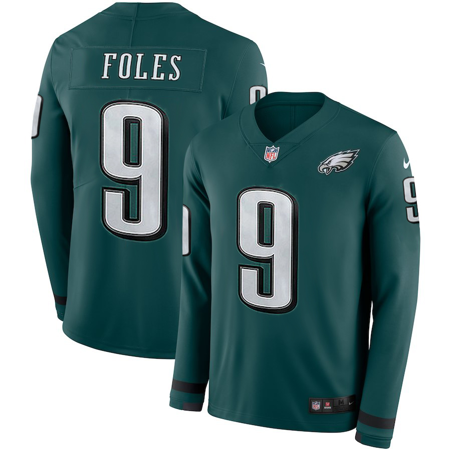 Men Philadelphia Eagles 9 Foles green Limited NFL Nike Therma Long Sleeve Jersey