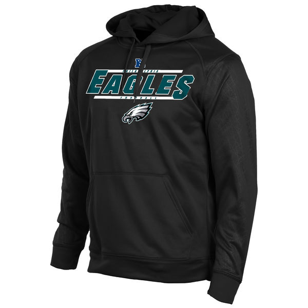 Men Philadelphia Eagles Majestic Synthetic Hoodie Sweatshirt Black