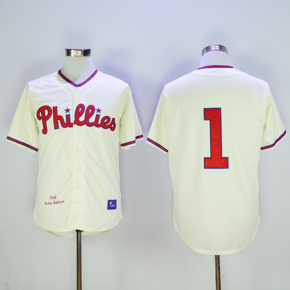 Men Philadelphia Phillies 1 Ashburn Cream Throwback MLB Jerseys