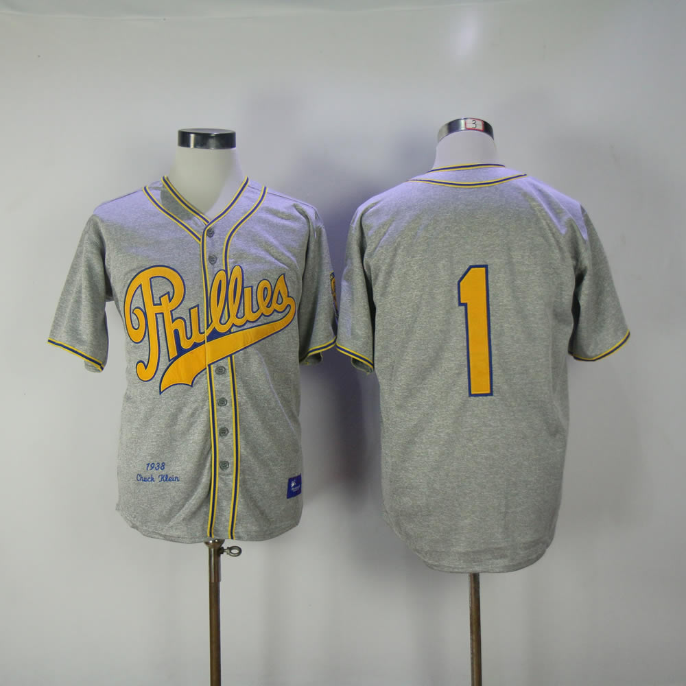 Men Philadelphia Phillies 1 Ashburn Grey Throwback 1938 MLB Jerseys