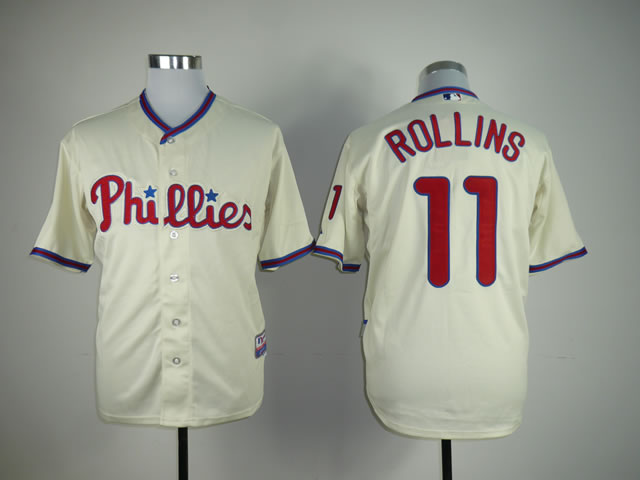 Men Philadelphia Phillies 11 Rollins Cream MLB Jerseys