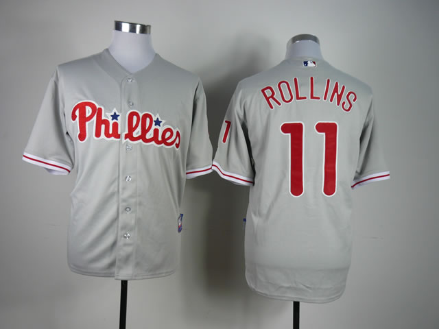 Men Philadelphia Phillies 11 Rollins Grey MLB Jerseys