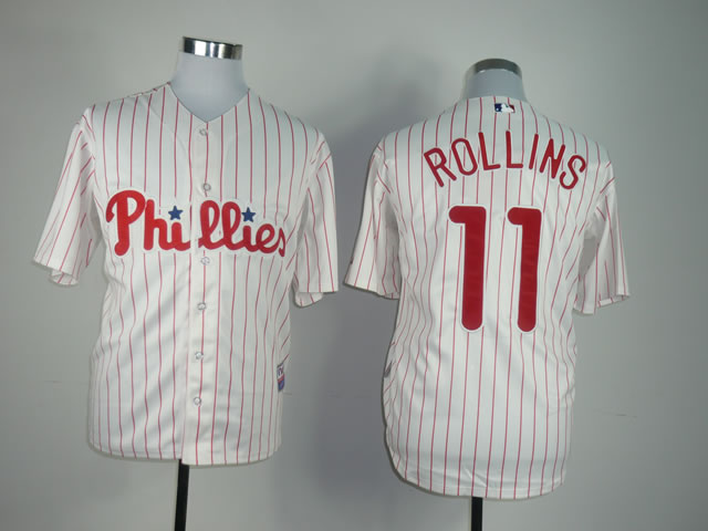 Men Philadelphia Phillies 11 Rollins White MLB Jerseys