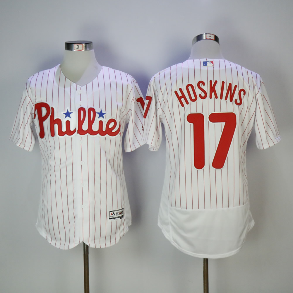 Men Philadelphia Phillies 17 Hoskins White Elite MLB Jerseys