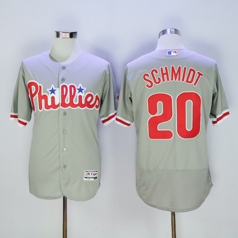 Men Philadelphia Phillies 20 Schmidt Grey Throwback MLB Jerseys