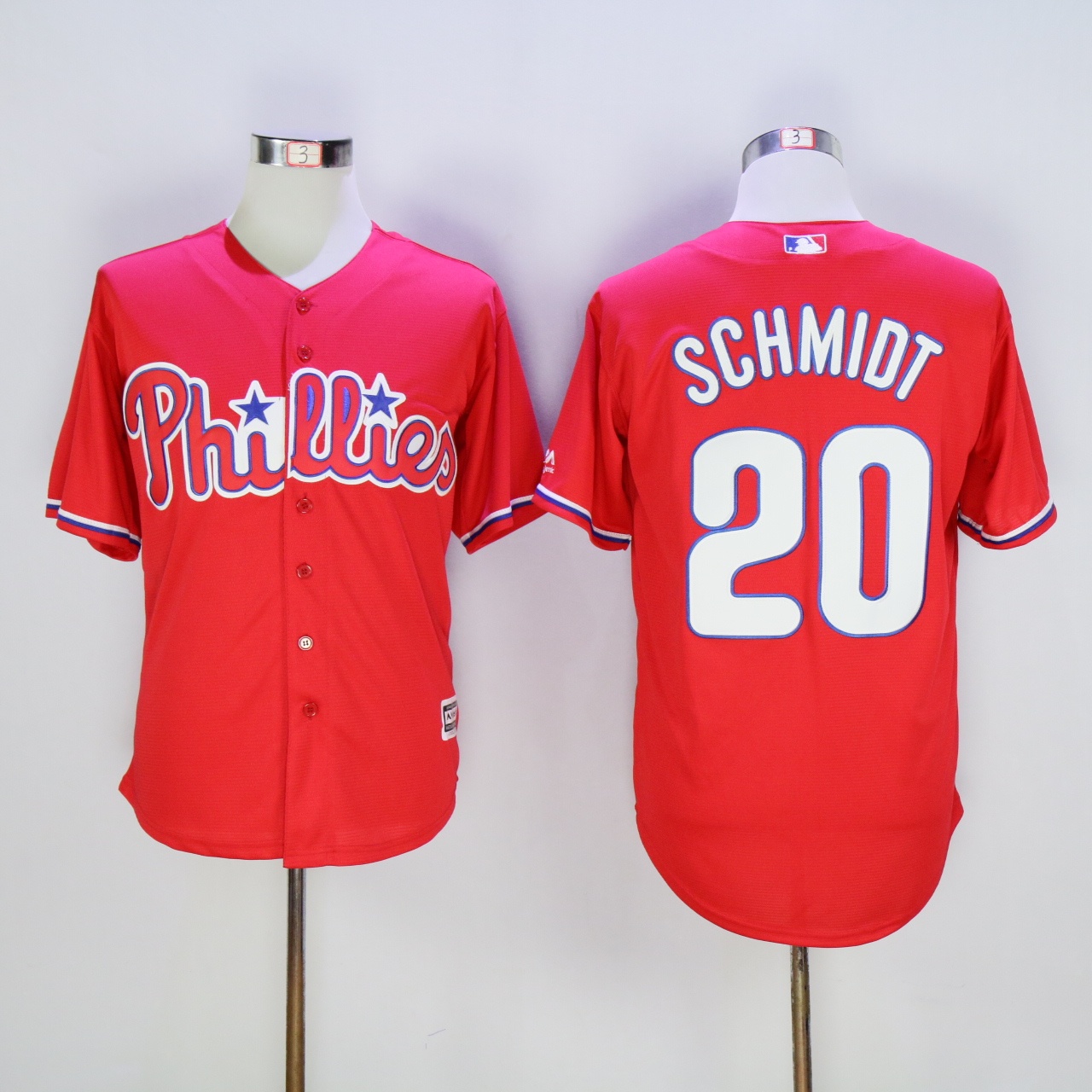 Men Philadelphia Phillies 20 Schmidt Red Throwback MLB Jerseys