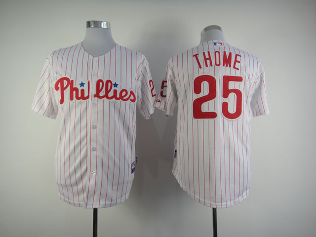 Men Philadelphia Phillies 25 Thome White MLB Jerseys