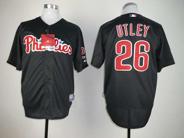 Men Philadelphia Phillies 26 Utley Black MLB Jerseys