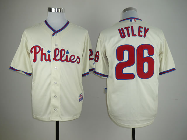 Men Philadelphia Phillies 26 Utley Cream MLB Jerseys