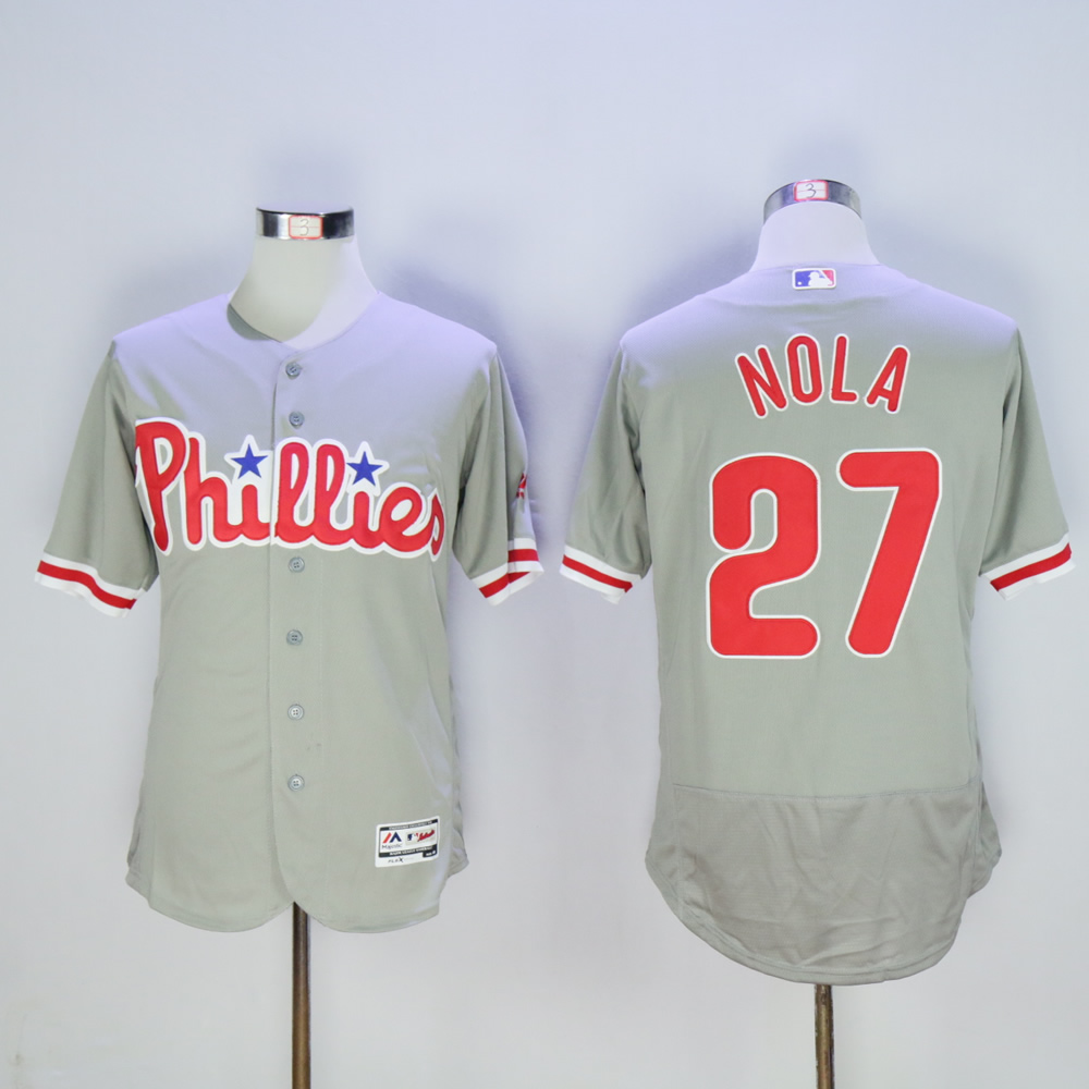 Men Philadelphia Phillies 27 Nola Grey MLB Jerseys