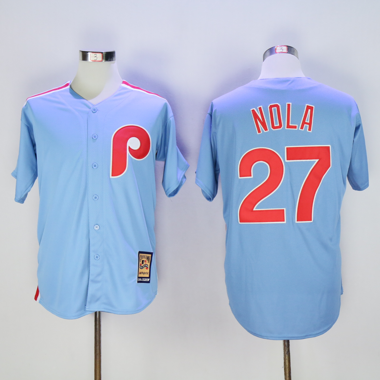 Men Philadelphia Phillies 27 Nola Light Blue Throwback MLB Jerseys
