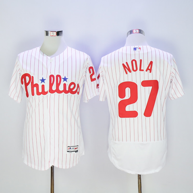Men Philadelphia Phillies 27 Nola White MLB Jerseys