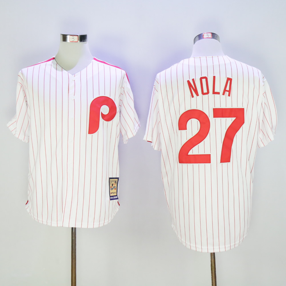 Men Philadelphia Phillies 27 Nola White Throwback MLB Jerseys