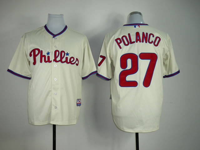Men Philadelphia Phillies 27 Polanco Cream MLB Jerseys