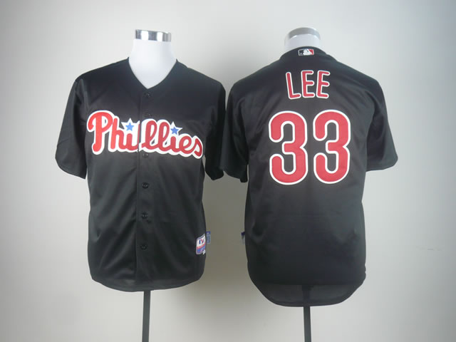 Men Philadelphia Phillies 33 Lee Black MLB Jerseys