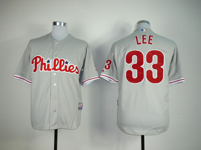 Men Philadelphia Phillies 33 Lee Grey MLB Jerseys