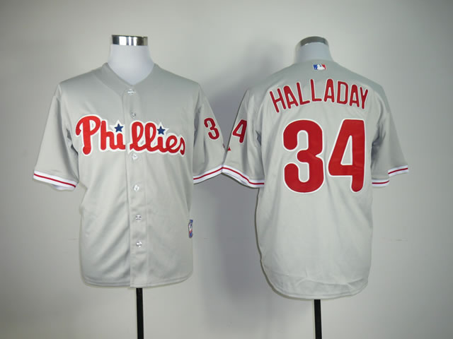 Men Philadelphia Phillies 34 Halladay Grey MLB Jerseys