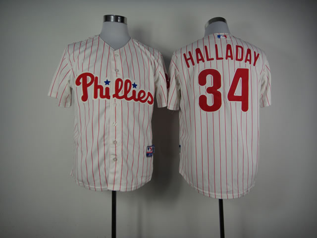 Men Philadelphia Phillies 34 Halladay White MLB Jerseys