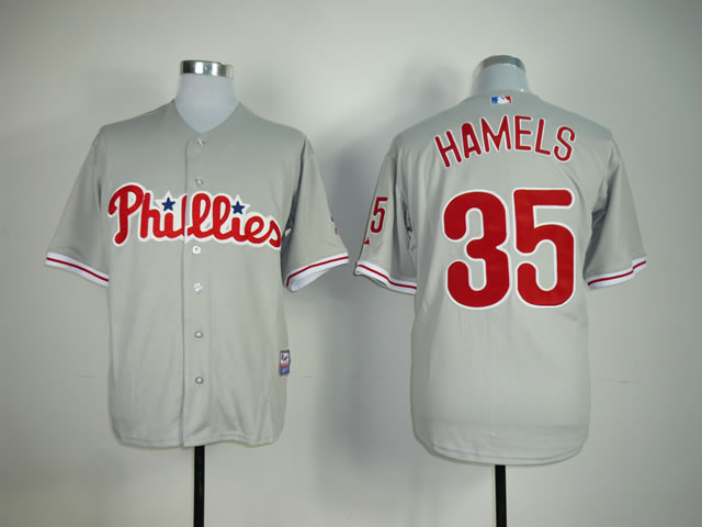 Men Philadelphia Phillies 35 Hamels Grey MLB Jerseys