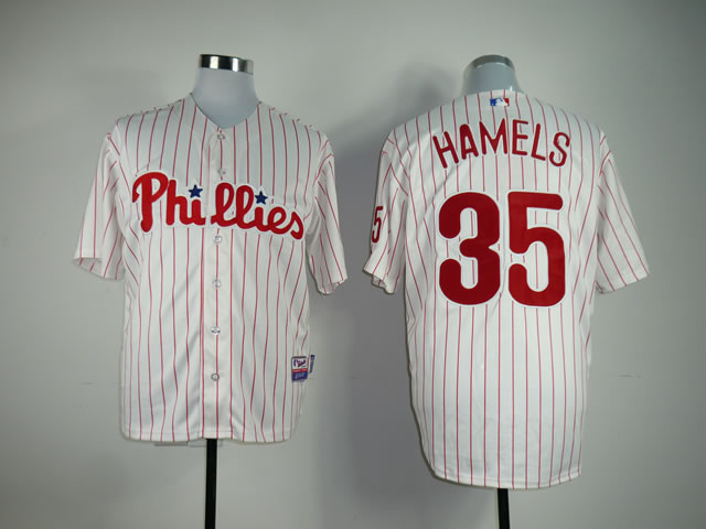 Men Philadelphia Phillies 35 Hamels White MLB Jerseys