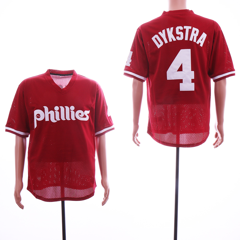 Men Philadelphia Phillies 4 Dykstra Red MLB Jerseys
