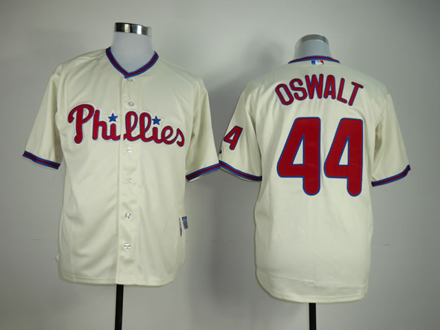 Men Philadelphia Phillies 44 Oswalt Cream MLB Jerseys