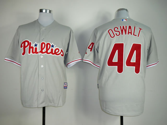 Men Philadelphia Phillies 44 Oswalt Grey MLB Jerseys