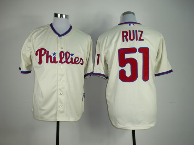Men Philadelphia Phillies 51 Ruiz Cream MLB Jerseys