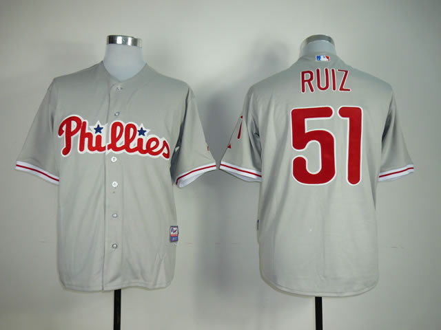 Men Philadelphia Phillies 51 Ruiz Grey MLB Jerseys
