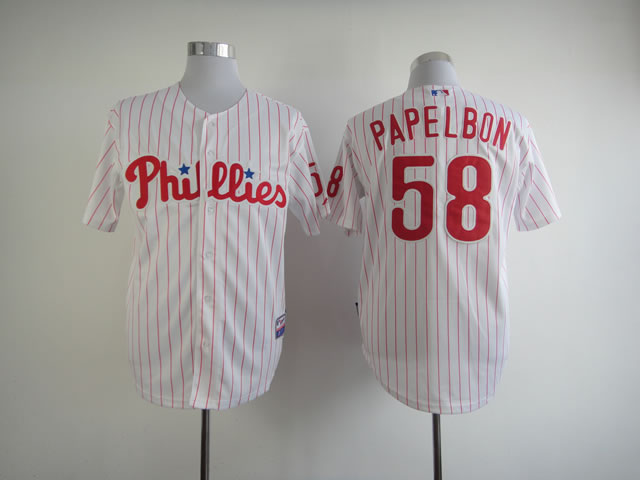 Men Philadelphia Phillies 58 Papelbon White MLB Jerseys