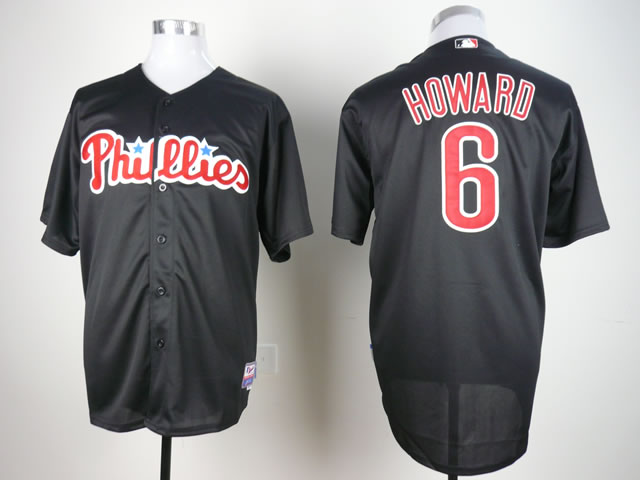 Men Philadelphia Phillies 6 Howard Black MLB Jerseys