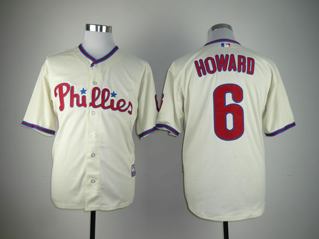 Men Philadelphia Phillies 6 Howard Cream MLB Jerseys