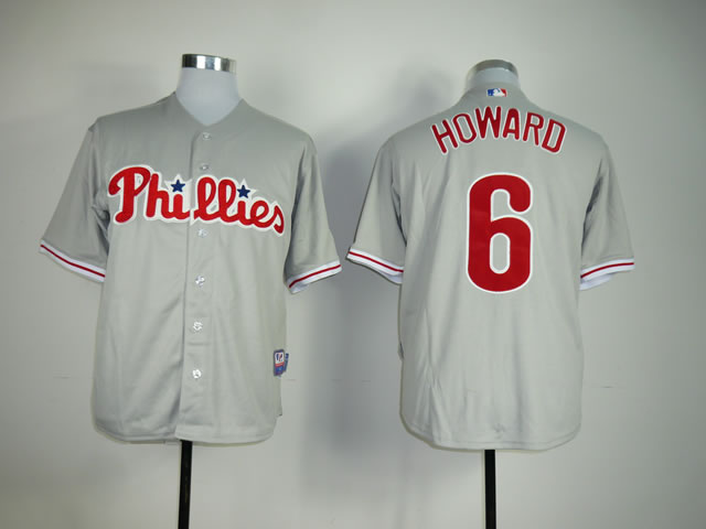 Men Philadelphia Phillies 6 Howard Grey MLB Jerseys