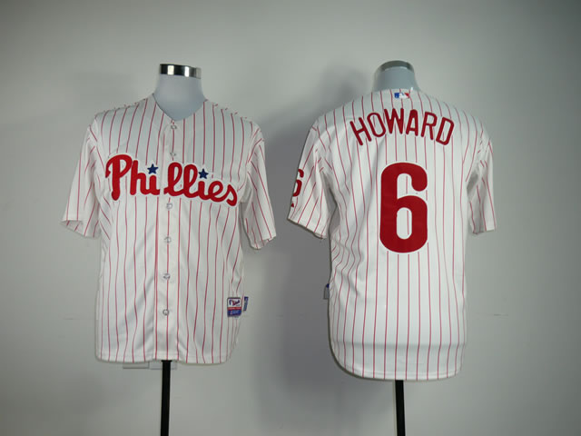 Men Philadelphia Phillies 6 Howard White MLB Jerseys