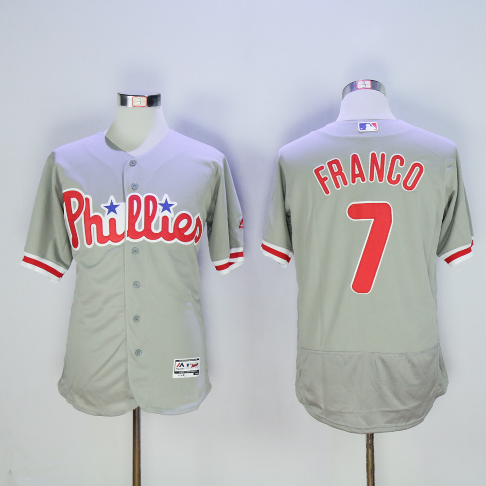 Men Philadelphia Phillies 7 Franco Grey MLB Jerseys