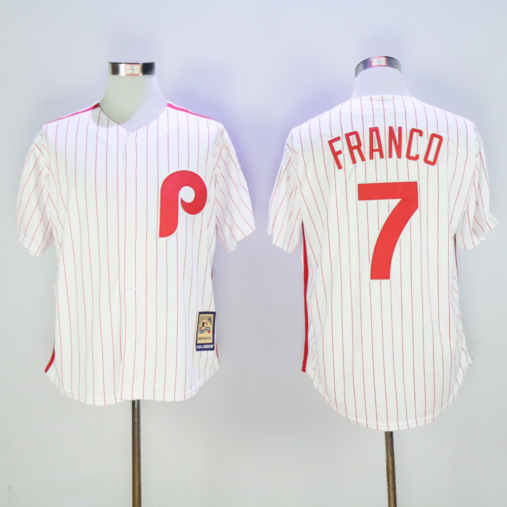 Men Philadelphia Phillies 7 Franco White Throwback Game MLB Jerseys