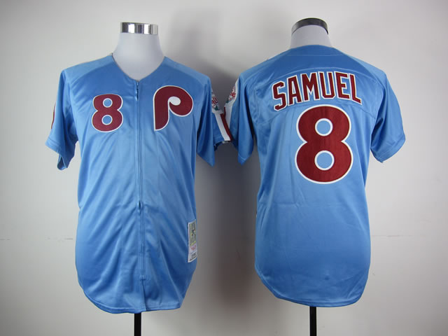 Men Philadelphia Phillies 8 Samuel Blue MLB Jerseys
