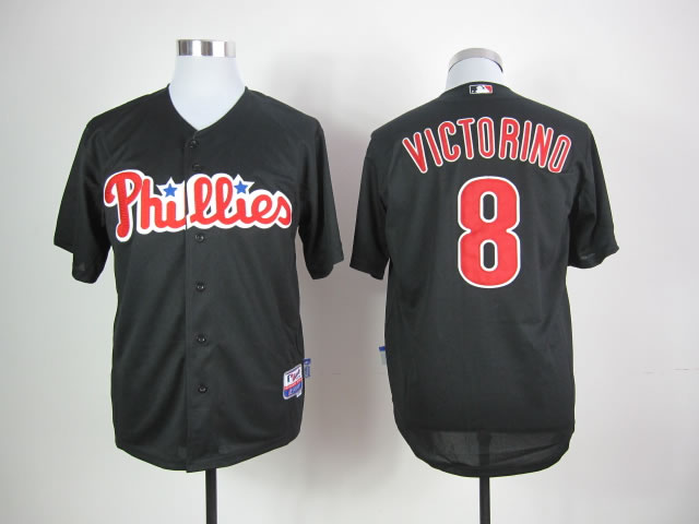Men Philadelphia Phillies 8 Victorino Black MLB Jerseys