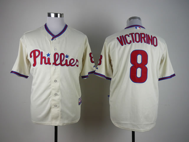 Men Philadelphia Phillies 8 Victorino Cream MLB Jerseys