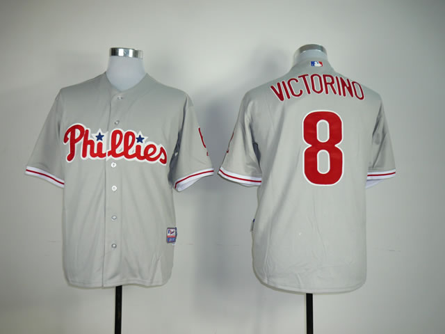 Men Philadelphia Phillies 8 Victorino Grey MLB Jerseys